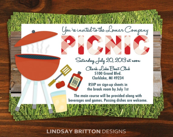 Office Picnic Invitation Email with nice invitations example