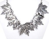10% OFF Vintage Inspired 5 Maple Leaves Bib Statement Necklace, Metal Work Necklace, Silver Tone Necklace, Uniqued Design Jewelry-153144496