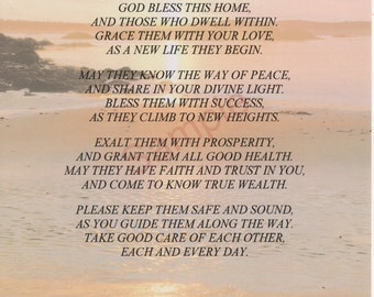 """Four Stanza """"God Bless This Home"""" Poem, shown on """"Shoreline"""" Background"""