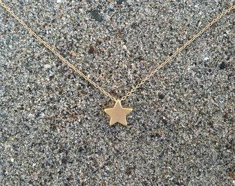 16 K Matte Gold, Star Necklace, Tiny Star Pendant