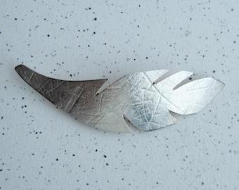 """Sterling Silver Leaf Brooch. Length: 77mm (3.03"""")"""