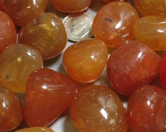 3 Carnelian Tumble Polished Stones - Item 17527