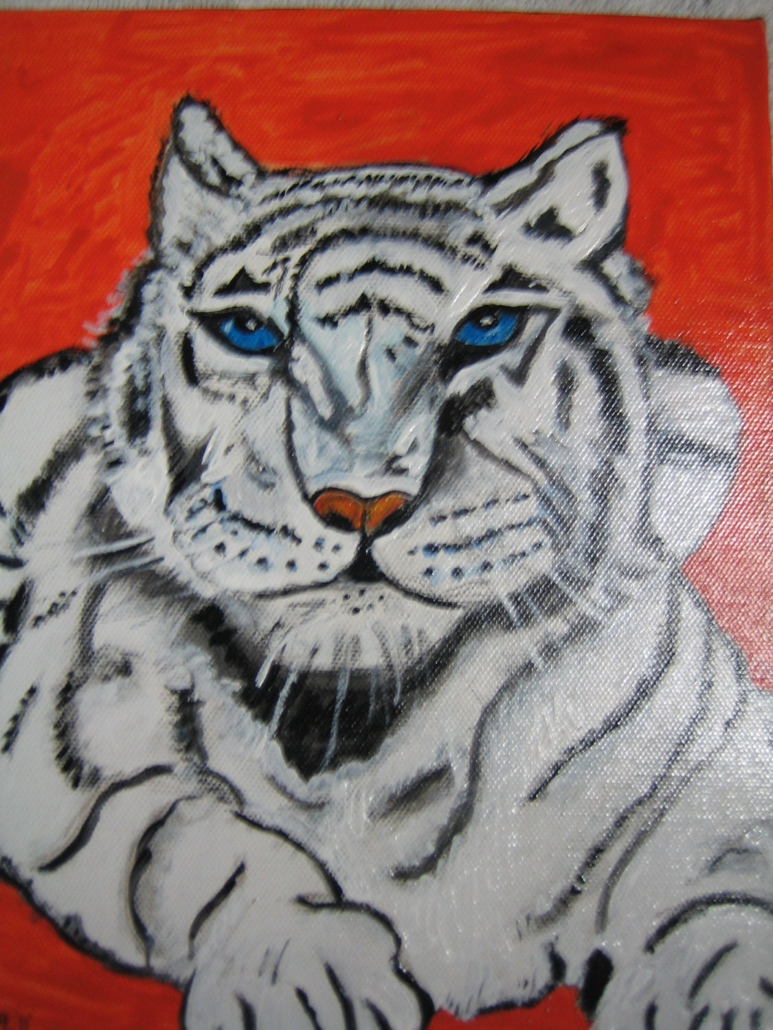 Original Acrylic Painting of White Tiger on Gallery Canvas