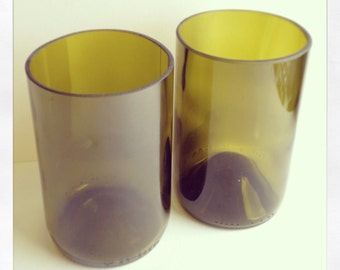 Upcycled Wine Bottle Tumblers (Pair)