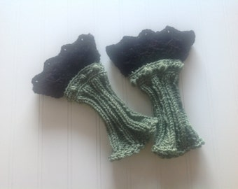Irish Romance Wrist Warmers - Sage Green and Black Fingerless Gloves