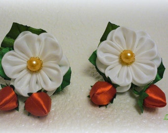 """Ponytails from flowers kanzashi """"strawberry""""(a set from 2 pieces)"""
