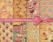 "Cupcake digital paper : ""SWEET CUPCAKES"" digital cupcake backgrounds in retro style, pink cupcakes digital download for scrapbooking, cards"