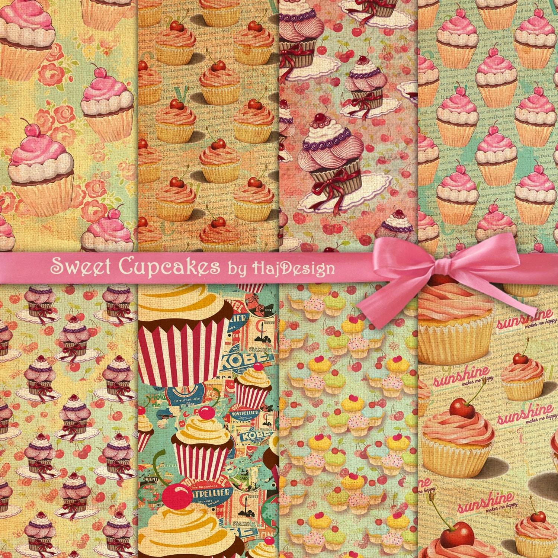 Scrapbook paper collage - Cupcake Digital Paper Sweet Cupcakes Digital Cupcake Backgrounds In Retro Style Pink Cupcakes Digital Download For Scrapbooking Cards