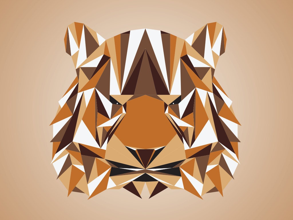 modern tiger triangle art print animal art tiger