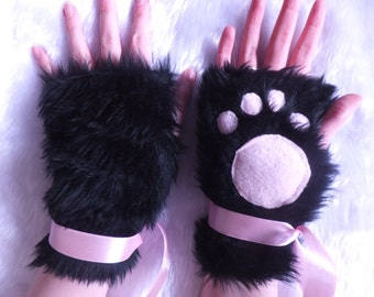 Cute Black & Pink Furry Cosplay Cat Kitty Neko Paw Fingerless Gloves Wrist Warmers Kawaii Halloween Festival Costume