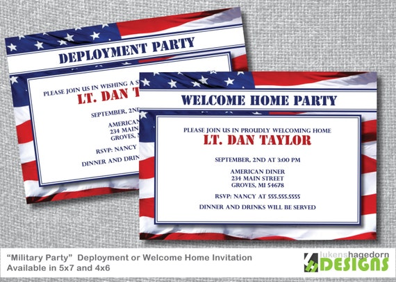 Items similar to Military Party Deployment or Welcome Home – Deployment Party Invitations