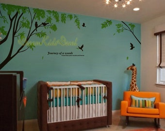 Branch wall decal with flying birds vinyl baby wall decal nursery tree decal branch decal wedding wall decal-DK043