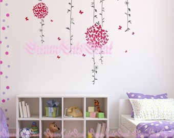 Butterfly Blossom Floral Tree wall decals nursery wall decals children girl baby wall decals wall sticker wall decor-DK093