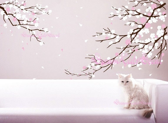 Cherry blossoms wall decal wall sticker tree decals dk006 for Cherry blossom wall mural stencil
