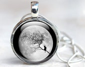 Moon Necklace Full Moon Picture Pendant Necklace, Silhouette Cat and Branch, Moon Jewelry Glass Dome Necklace Picture Necklace Photo Pendant