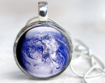 Planet Earth Necklace - Glass Earth Necklace - Planet Earth Jewelry