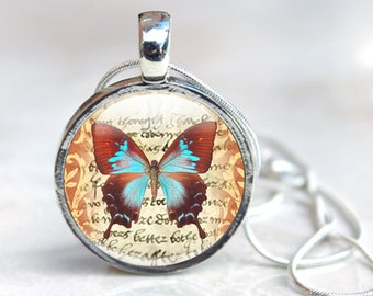 Butterfly Glass Pendant - Butterfly Jewelry - Glass Pendant Necklace - Butterfly Pendant (jewelry 9)