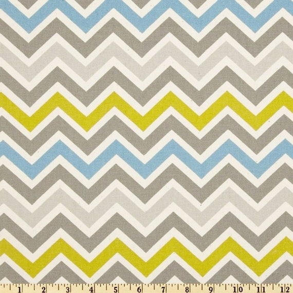 Fabric zoom zoom Summerland Premier Prints grey blue green yellow citrine Home Decor chevron zigzag - 1 yard or more - SHIPS FAST