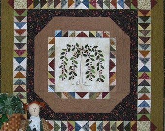 Beneath The Willow Pattern - A wool on cotton applique quilt Pattern