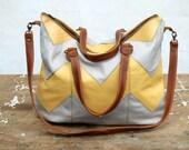 Chevron Leather Bag, Chevron Tote, Patchwork Purse, XL leather bag, Geometric Tote, luggage, womens travel Bag - Spring Summer fashion