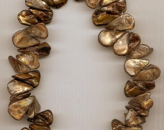 Dazzling chunky necklace made with freeform slightly golden brown shells
