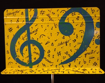 Painted Metal Music Stand with Abstract Treble and Bass Clef