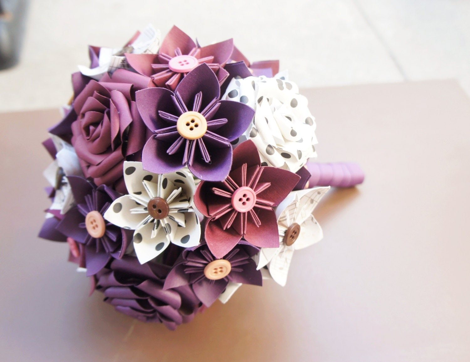 Paper Kusudama Origami Rose Flower Wedding Bouquet Vintage