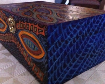 Hand Painted Unusal One of a Kind  Box  B0010