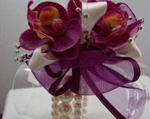 Purple Orchid Wrist coursage, Wristlet, Pearl, Keepsake Bracelet