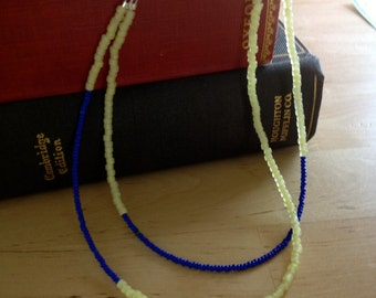 Color Block Blue and Yellow Beaded Necklace - marked down