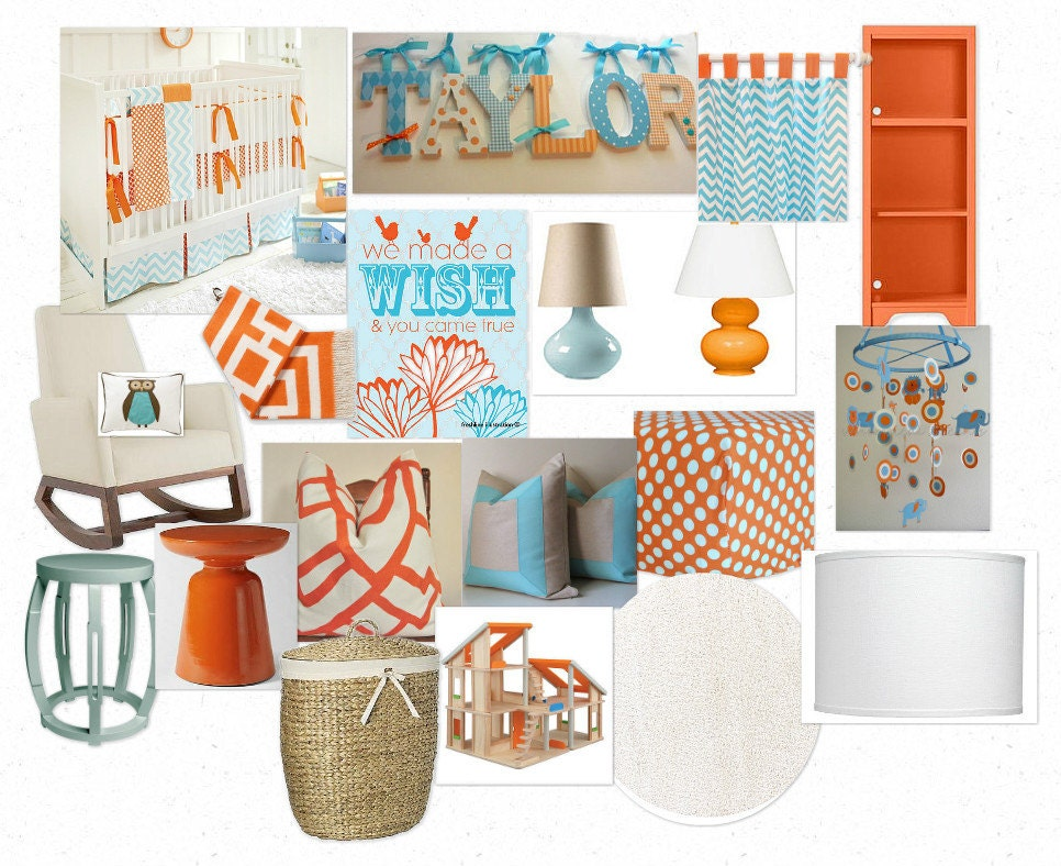 Unavailable listing on etsy - Orange and teal decor ...
