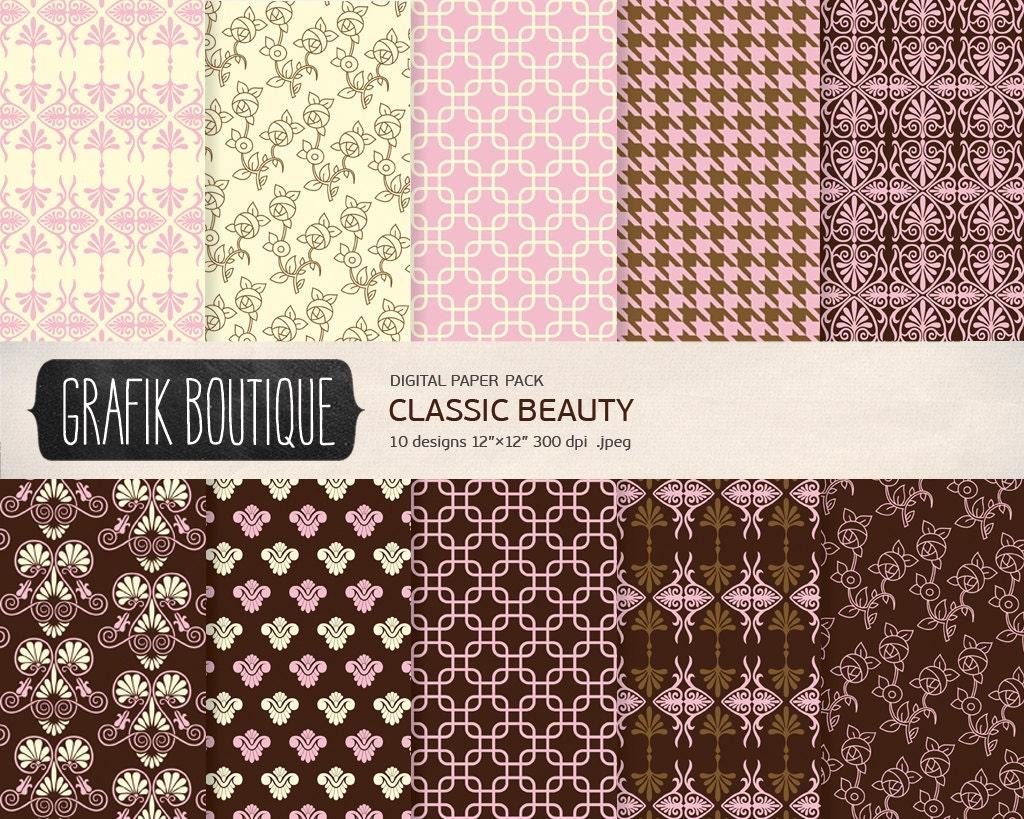 klassisches muster digital scrapbook papier pack sofortiger. Black Bedroom Furniture Sets. Home Design Ideas