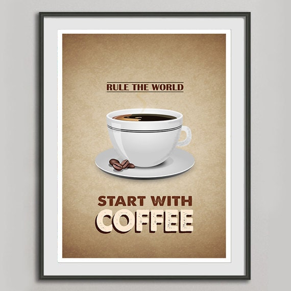 Retro Kitchen Wall Decor: Items Similar To Retro Coffee Poster A3, Kitchen Art, Typographic Vintage Print Brown Poster