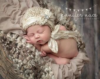 Beige Bonnet, Baby Bonnet, Newborn Bonnet, Photo Prop