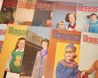 10 WorkBasket magazines from 1974, retro crafts recipies advertising