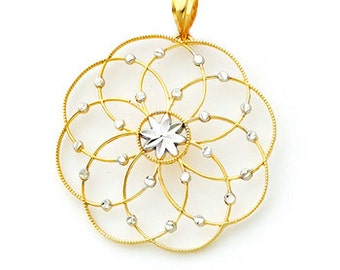 14Kt Gold Two-tone Circular dream catcher Pendant