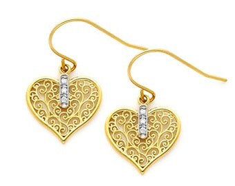 14K Gold Filigree Heart Earrings on Fish Hook Wires.