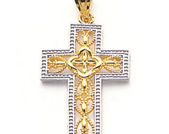 14k gold two tone Filigree cross charm