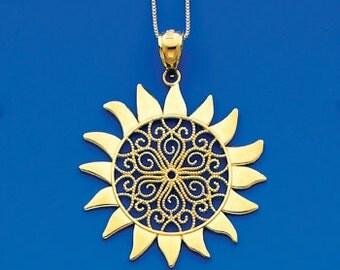 14k Yellow Gold Sun Pendant