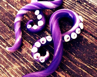 Purple Goddess Tentacle gauged earrings 0g