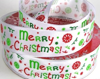 "1 1/2"" Merry Christmas Wire Edged Ribbon"