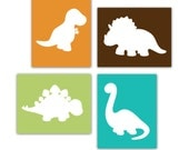 Dinosaur Prints Set of 4 Modern Art Prints for Nursery or Kids Bedroom Wall Decor Size 8x10