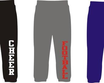 DIY Iron On Sport Transfer for Leg Area of sweatpants, pajama pants, Vertical Iron-on baseball softball cheer hockey football