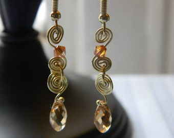 Crystal Spiral Wire Earrings