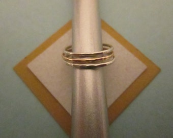 Sterling Silver & 14K Gold Filled Stacking Rings, Set of Three