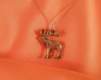 Sterling Silver Medium Elk Pendant Necklace