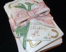 Vintage Porcelain Box China Bisque Thinking of You Trinket Book End Storage Box China with two books and a Pink Bow