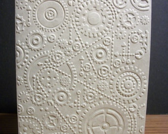 Steampunk Embossed Cards/Gear Card/Blank Note Card Set/