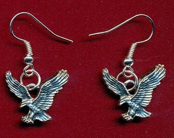 Lead free pewter eagle dangling earrings with surgical steel french ear hooks SKU: ER1122