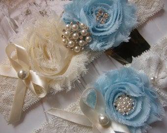 Something Blue Wedding Garters / Ivory / Light Blue / Vintage Inspired / Bridal Garter Set